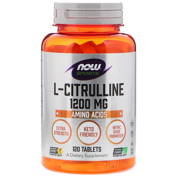 Now Foods, L-цитруллин, 1 200 мг, 120 таблеток