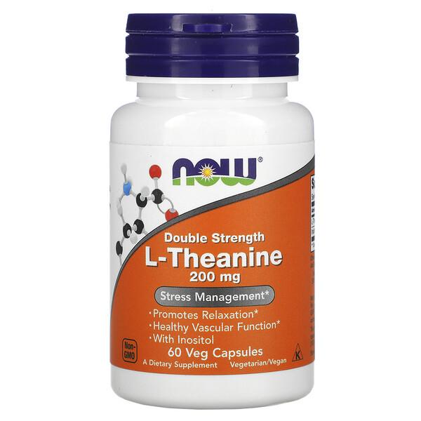 L-Theanine, двойная сила, 200 мг, 60 растительных капсул