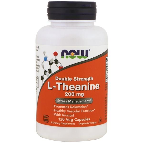 L-теанин, двойная сила, 200 мг, 120 растительных капсул