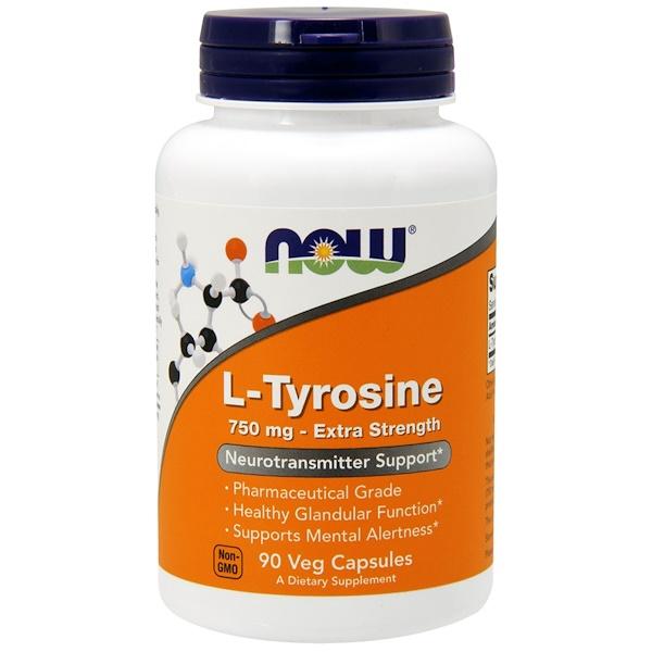 L-тирозин, с повышенной силой действия, 750 мг, 90 растительных капсул