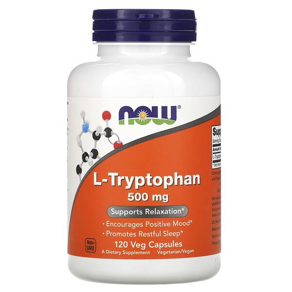 Now Foods, L-триптофан, 500мг, 120растительных капсул