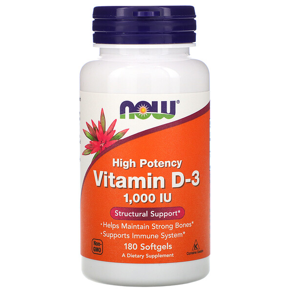 витаминD3, высокоактивный, 25мкг (1000МЕ), 180мягких таблеток