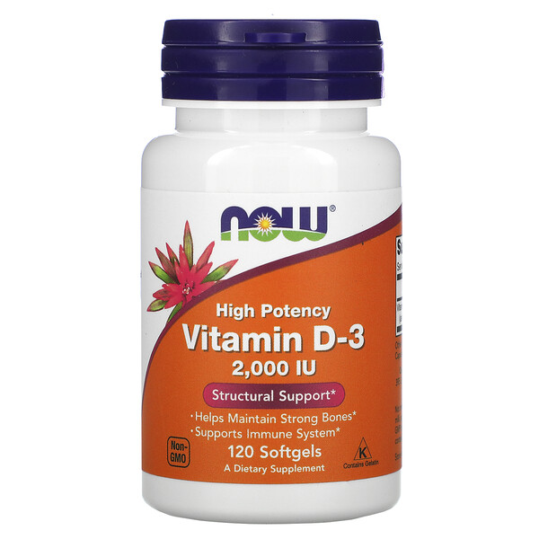 Now Foods, высокоактивный витамин D3, 50мкг (2000МЕ), 120мягких таблеток