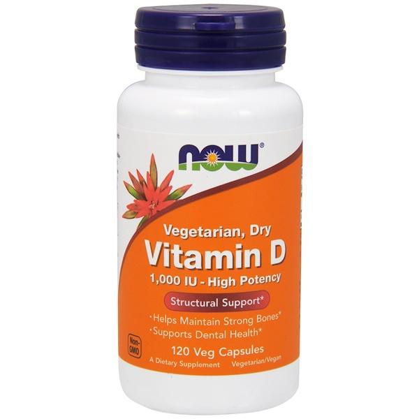 Now Foods, Витамин D, высокоактивный, 1000 МЕ, 120 растительных капсул