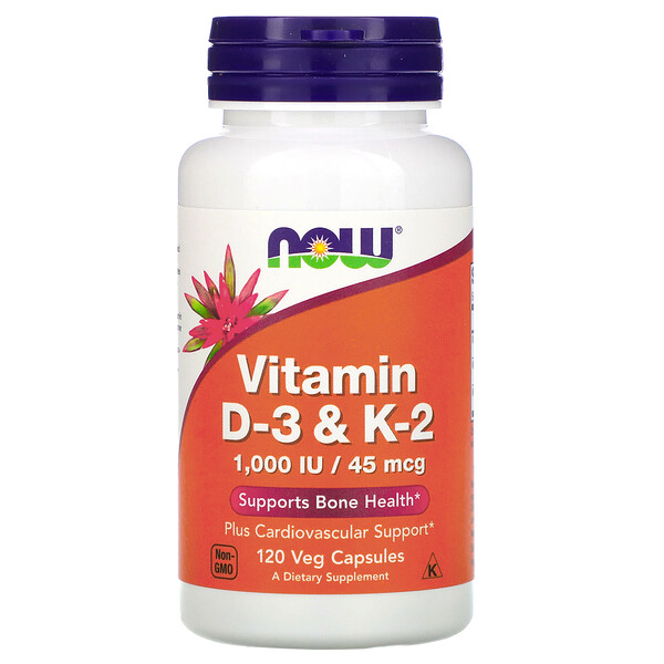 Now Foods, витаминыD3 и K2, 45мкг (1000МЕ), 120растительных капсул