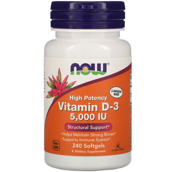 Витамин D-3, 5000 МЕ, 240 мягких таблеток