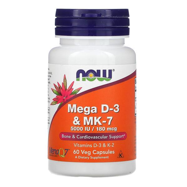 Now Foods, мегаD3 и MK-7, 180мкг (5000МЕ), 60растительных капсул
