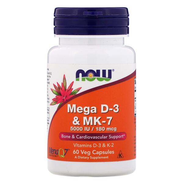 Now Foods, Mega D-3 и MK-7, 60растительных капсул