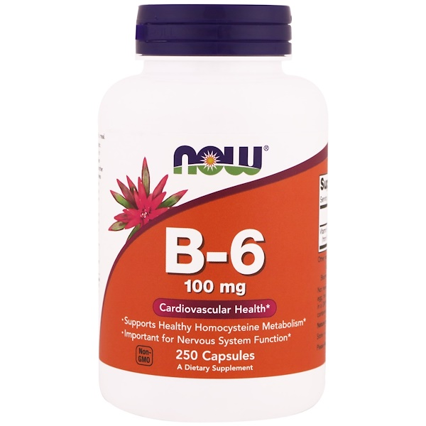 Now Foods, B6, 100 мг, 250 капсул