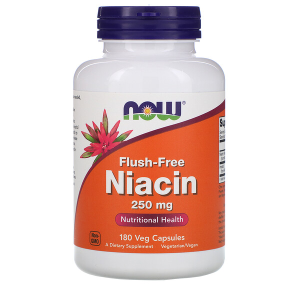 Now Foods, Ниацин, не вызывающий покраснений, 250 мг, 180 растительных капсул