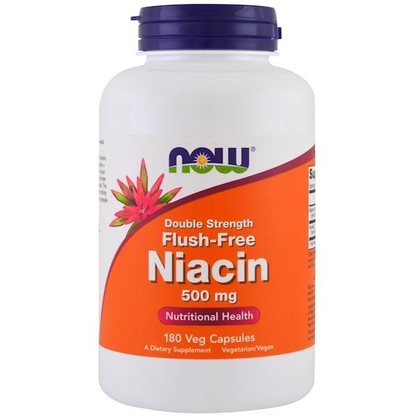 Ниацин двойной концентрации, не вызывающий покраснений, 500 мг, 180 растительных капсул
