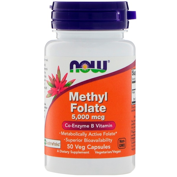 Now Foods, Метилфолат, 5000 мкг, 50 капсул