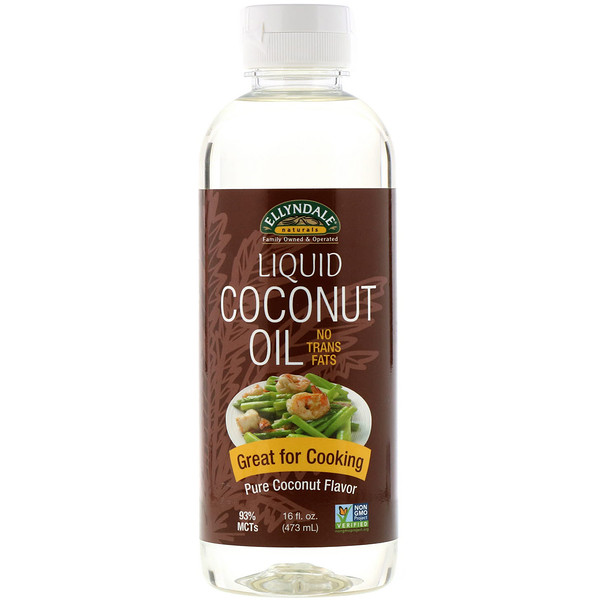Ellyndale Naturals, жидкое кокосовое масло, чистый кокосовый вкус, 16 жидк. унц. (473 мл)