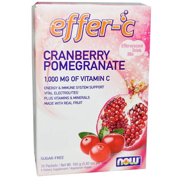 Now Foods, Effer-C, Cranberry Pomegranate, 30 Packets, 5.5 g Each (Discontinued Item)