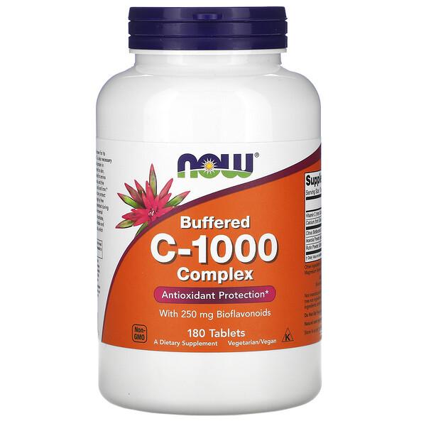 Now Foods, комплекс буферизованного витаминаC-1000, 180таблеток