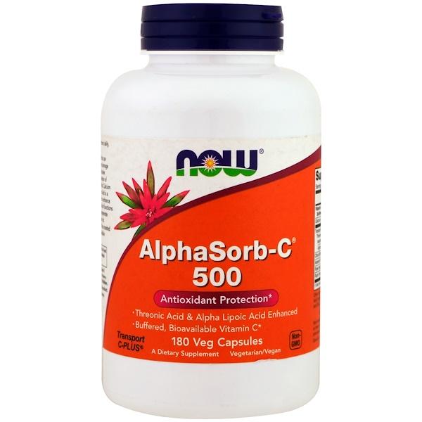 Now Foods, AlphaSorb-C 500, 180 Veg Capsules