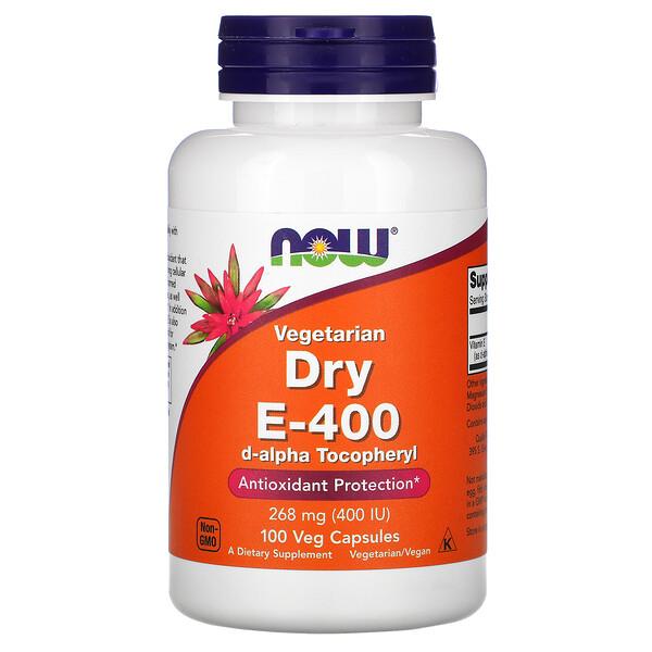 Now Foods, Vegetarian Dry E-400, 268мг (400МЕ), 100растительных капсул