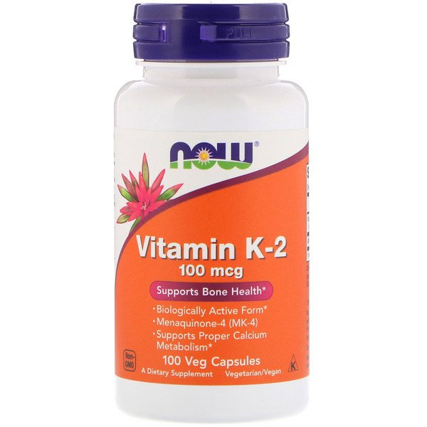 Now Foods, Витамин K-2, 100 мкг, 100 растительных капсул