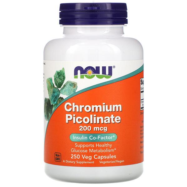 Now Foods, Chromium Picolinate, 200 mcg, 250 Veg Capsules