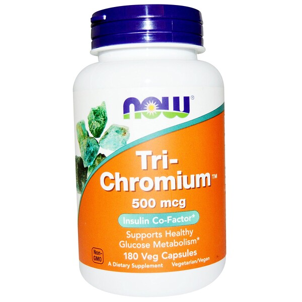 Now Foods, Tri-Chromium, 500 мкг, 180 капсул