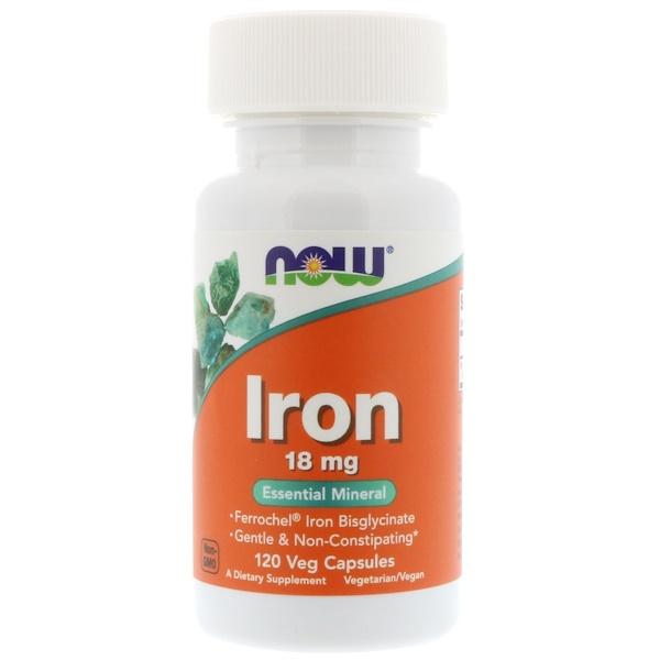 Now Foods, Железо, 18 мг, 120 растительных капсул