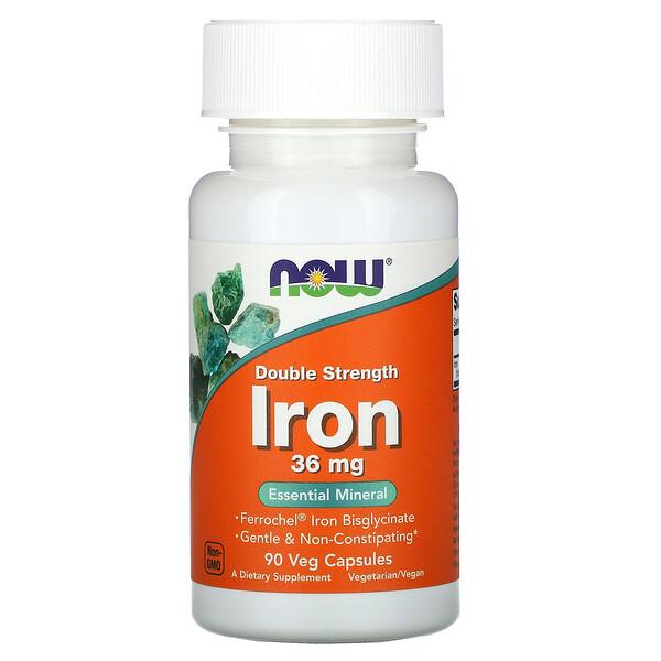 Now Foods, железо, двойной концентрации, 36мг, 90растительных капсул