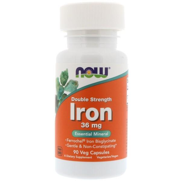 Железо, двойной концентрации, 36 мг, 90 растительных капсул