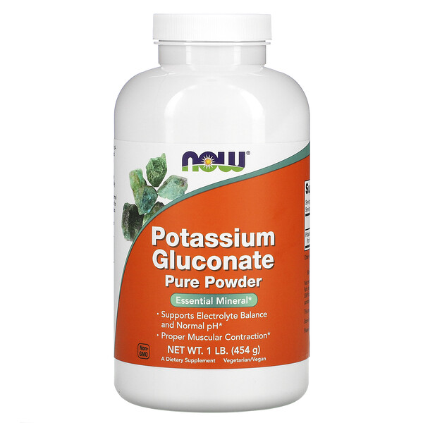 Now Foods, Порошок чистого глюконата калия, 454 г (1 фунт)