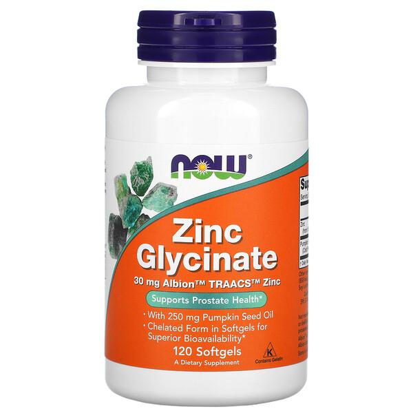 Now Foods, Глицинат цинка, 120 мягких таблеток