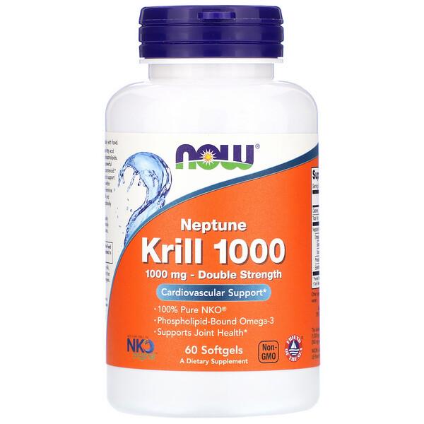 Крилевый жир Neptune Krill 1000, двойная эффективность, 1000 мг, 60 мягких желатиновых капсул