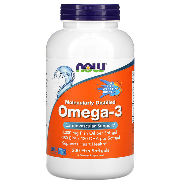 Now Foods, Омега-3, очищенная на молекулярном уровне, 200мягких капсул из рыбьего желатина