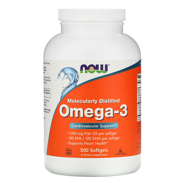 Omega-3, Molecularly Distilled, 500 Softgels