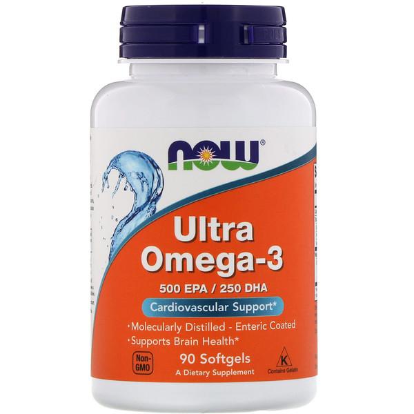 Ультра Омега-3, 500 EPA/250 DHA, 90 мягких капсул