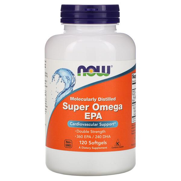 Super Omega EPA, очищенная молекулярной дистилляцией, 120 мягких желатиновых капсул