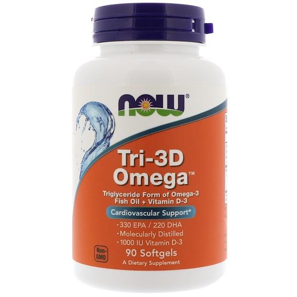 Now Foods, Рыбий жир Омега Tri-3D + витамин D-3, 90 капсул