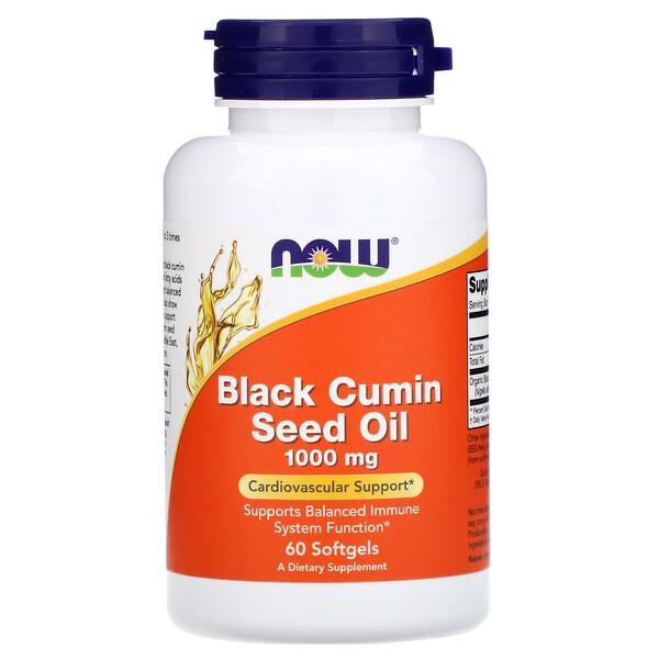 Now Foods, Масло семян черного тмина, 1000мг, 60капсул