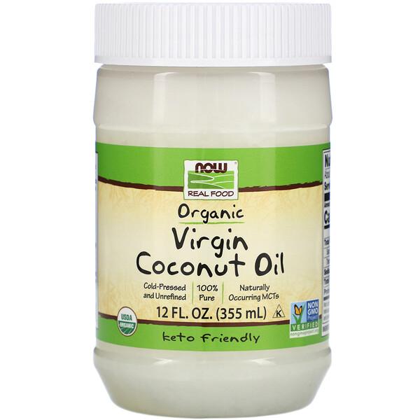 Now Foods, Real Food, органическое кокосовое масло первого отжима, 355мл (12жидк.унций)