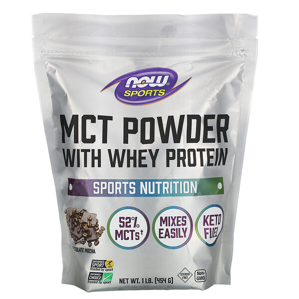 Sports, MCT Powder with Whey Protein, Chocolate Mocha, 1 lb (454 g)