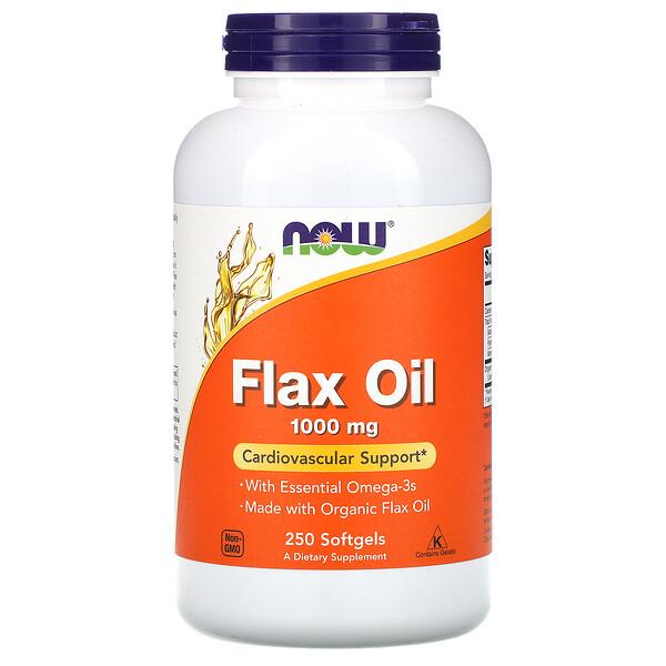 Now Foods, Льняное масло с незаменимыми жирными кислотами омега-3, 1000 мг, 250 мягких желатиновых капсул
