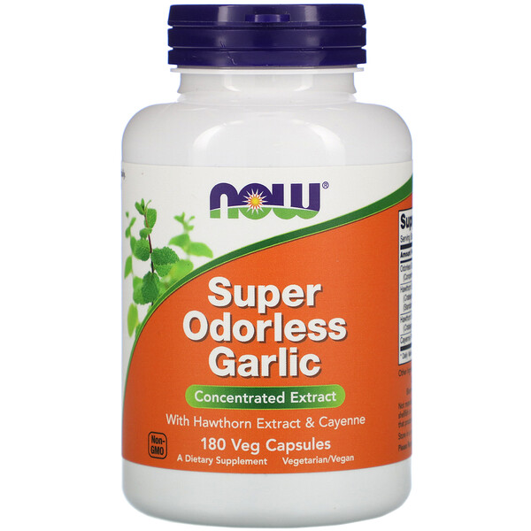 Now Foods, Super Odorless Garlic, 180 капсул