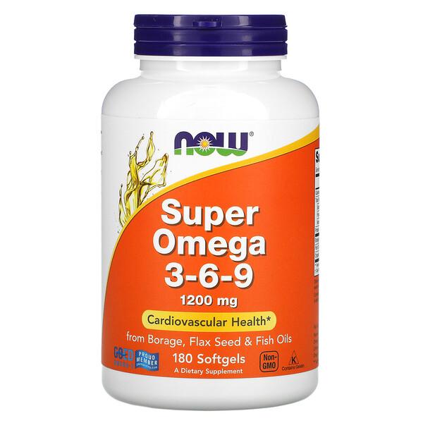 Super Omega 3-6-9, 1200мг, 180мягких таблеток