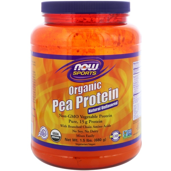 Sports, Белок из гороха органического происхождения, натуральный, не содержащий вкусовых добавок, 680 г (1,5 фунта)