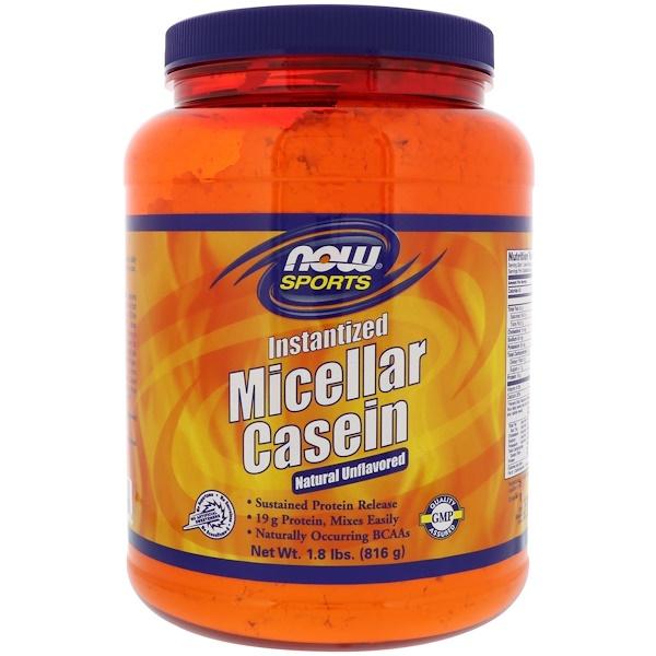 Sports, мицеллярный казеин, быстрорастворимый, натуральный продукт без ароматизаторов, 816г (1,8унции)
