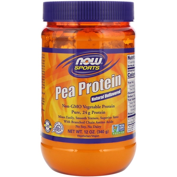 Гороховый белок, натуральный, без вкусовых добавок, 12 унций (340 г)