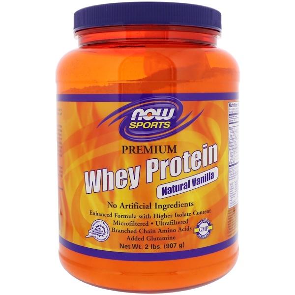 Now Foods, Для спорта, сывороточный протеин высшего качества, натуральная ваниль, 2 фунта (908 г) (Discontinued Item)