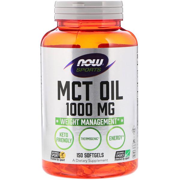Now Foods, Питание для физической активности, Масло МСТ, 1000 мг, 150 гелевых капсул