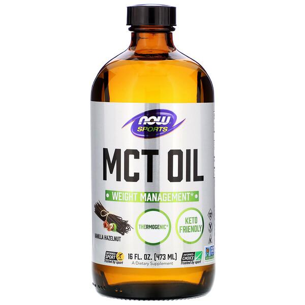 Now Foods, Sports, MCT Oil, Vanilla Hazelnut, 16 fl oz (473 ml)