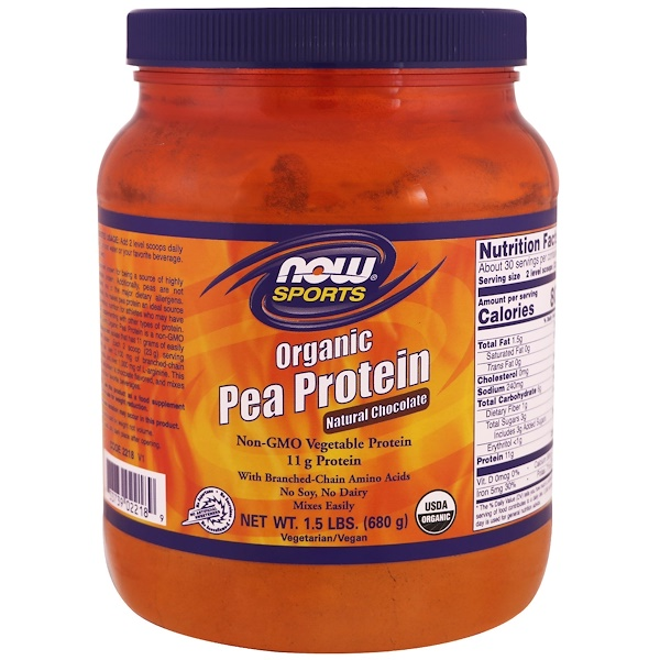 Now Foods, Спорт, органический гороховый белок, натуральный шоколад, 1,5 фунта (680 г) (Discontinued Item)