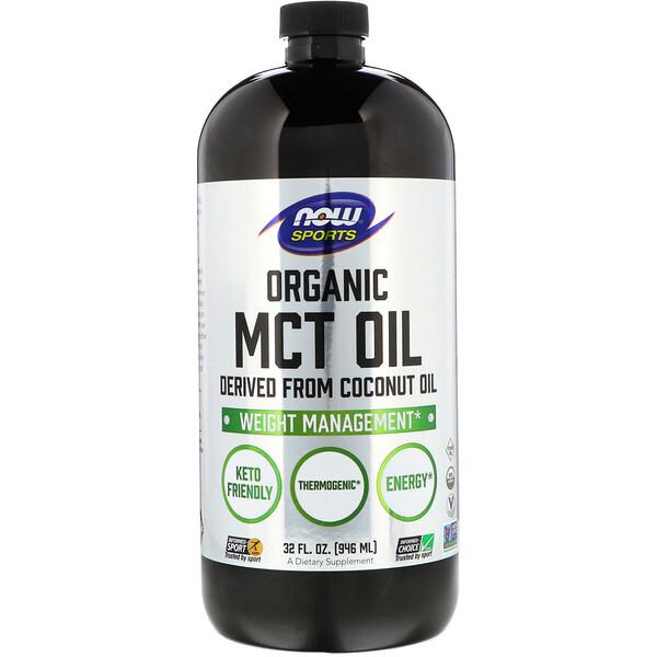 Now Foods, Sports, органическое масло со среднецепочечным триглицеридом, 32 ж. унц. (946 мл)