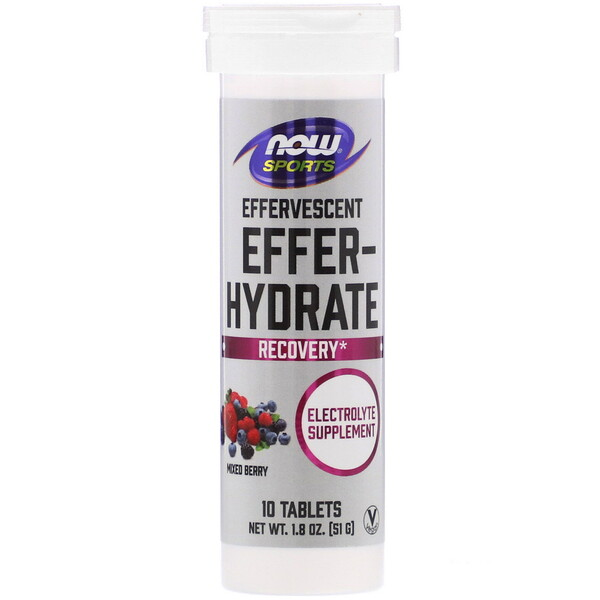 Now Foods, Sports, Effer-Hydrate, Mixed Berry, 10 Tablets, 1.8 oz (51 g)